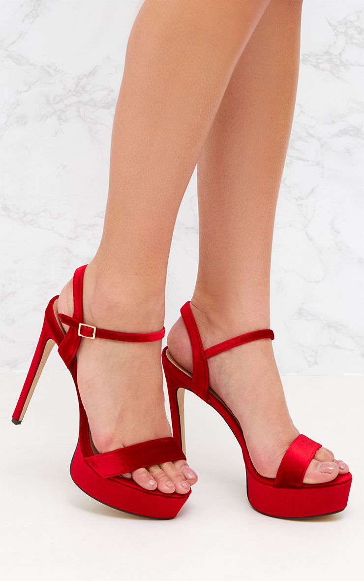 Red Velvet Ankle Strap Heeled Sandal