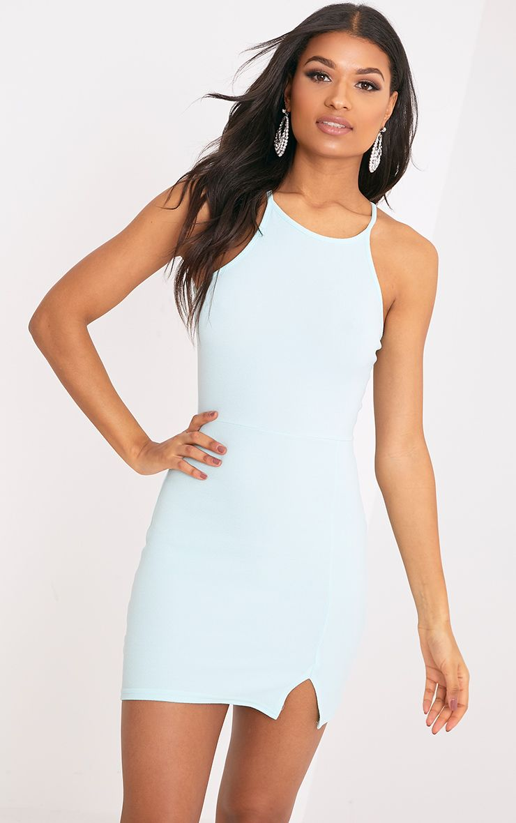 Aniqah Mint High Neck Split Detail Bodycon Dress