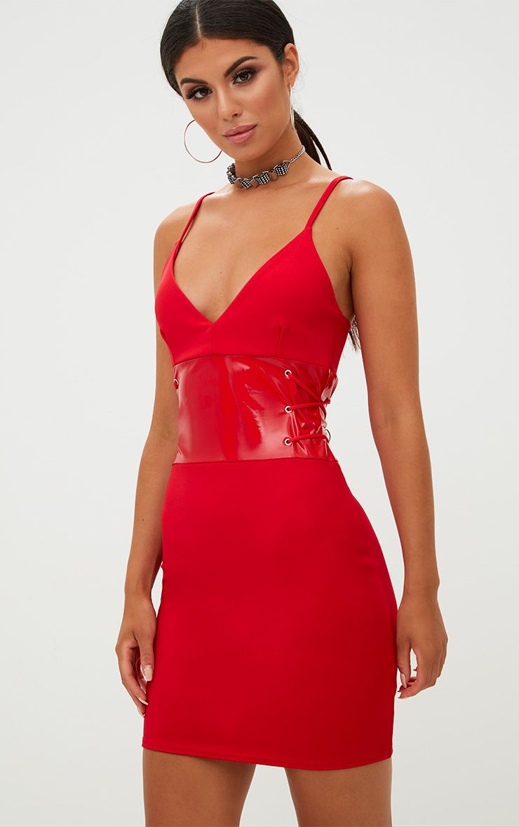 Red Corset Detail PU Bodycon Dress
