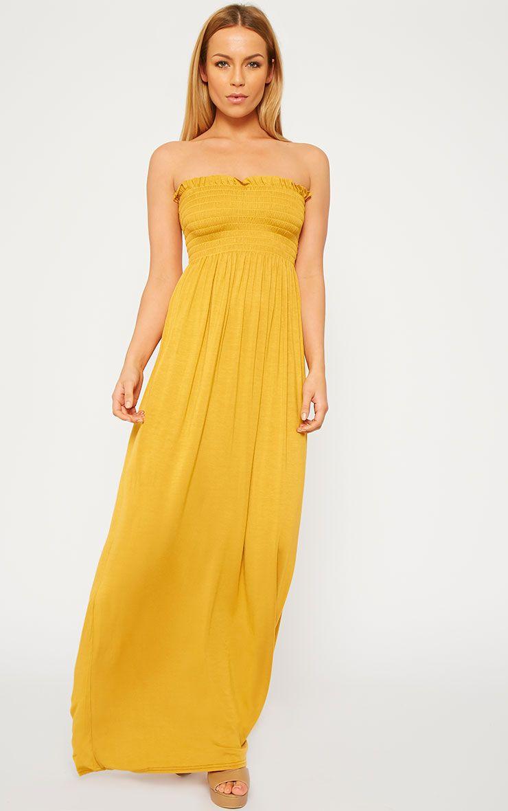 Tamara Mustard Elasticated Bandeau Jersey Maxi Dress 1