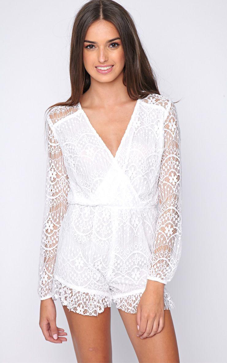 Evita White Lace Playsuit  1