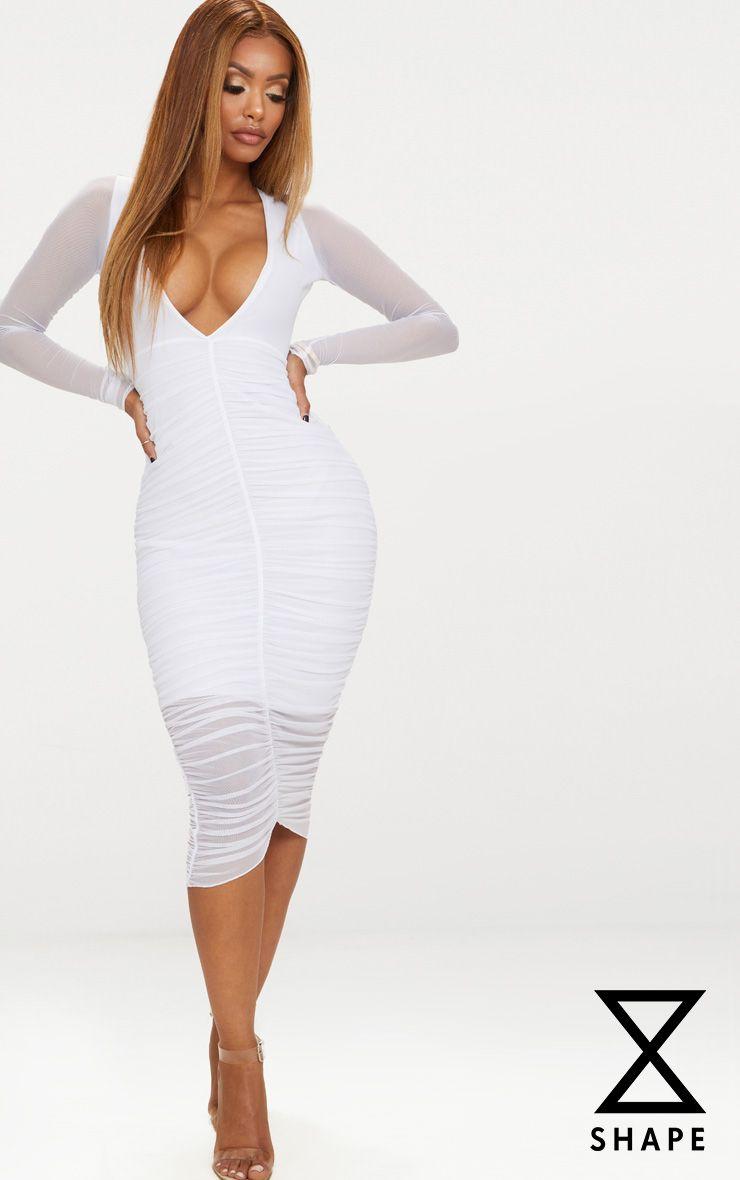 Shape White Ruched Mesh Longline Midi Dress