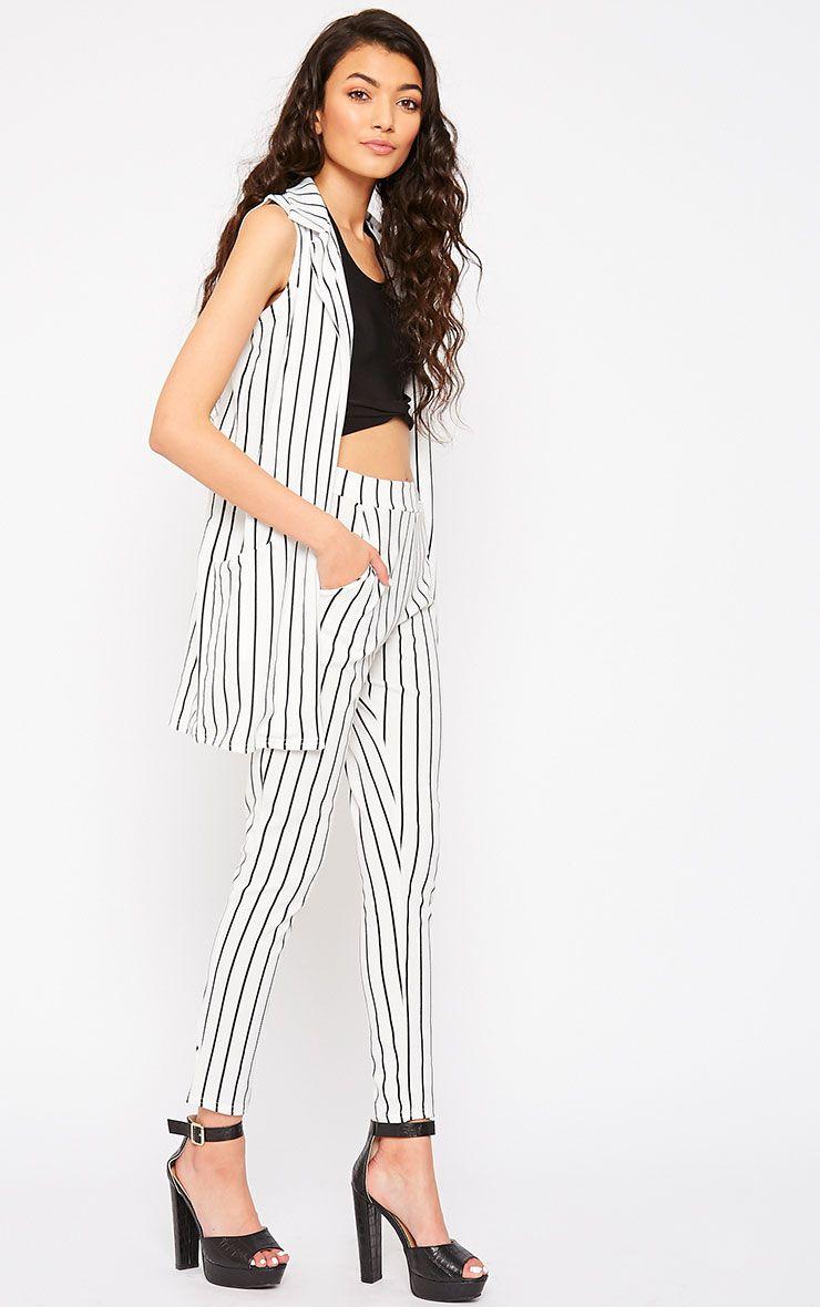 Jakoba Cream Pinstripe Trousers 1