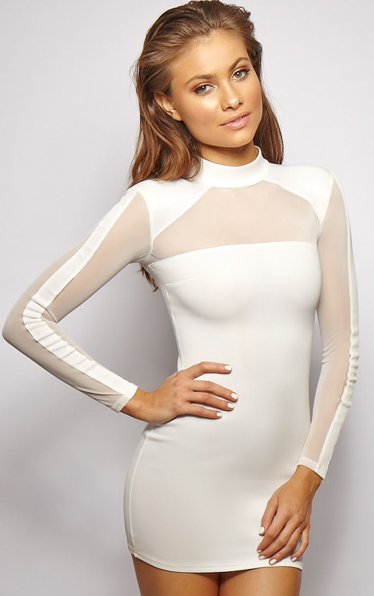 Product photo of Xara white structured mesh panel dress white
