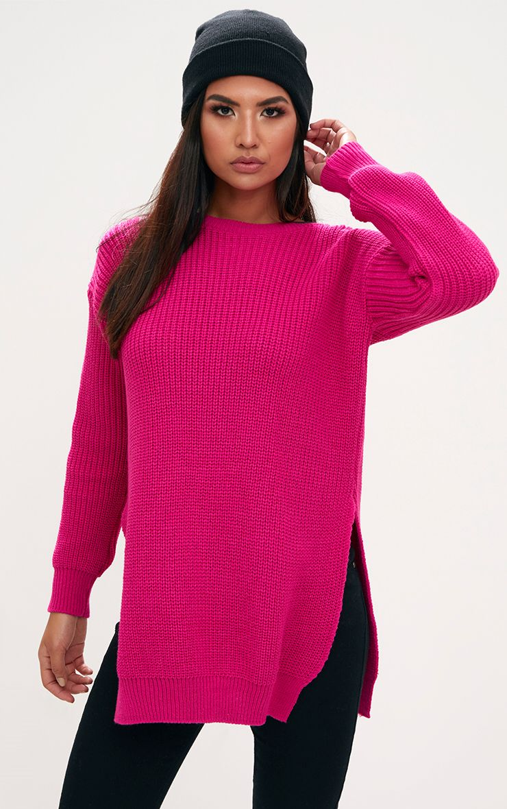 Pink Round Neck Side Split Knitted Jumper