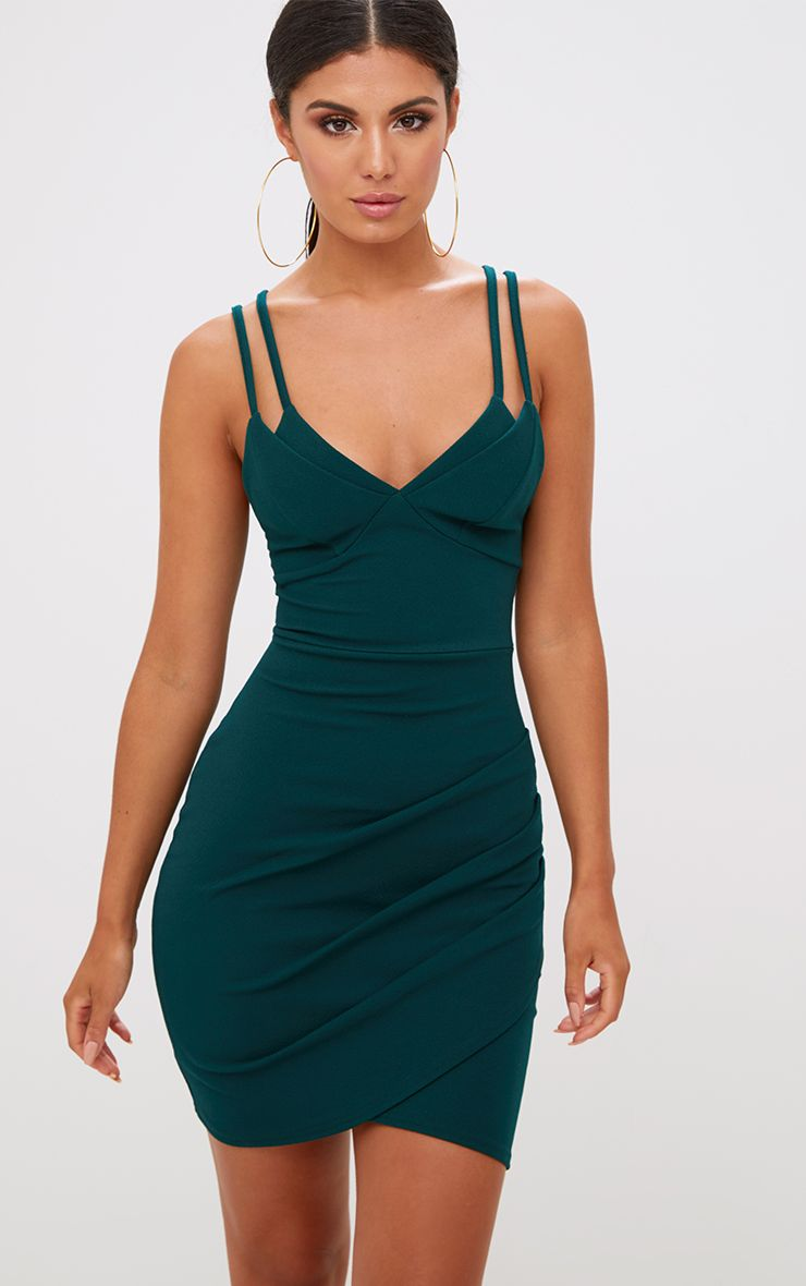Emerald Green Double Strap Bodycon Dress
