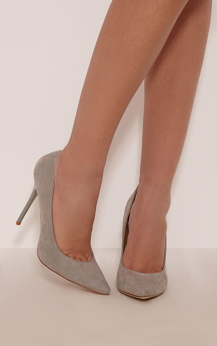 Julieta Grey Faux Suede Stiletto Court Shoe 1