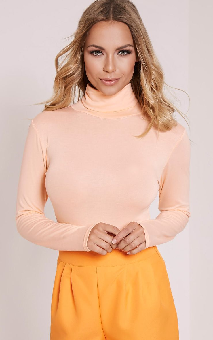 Peach Roll Neck Long Sleeve Bodysuit 1