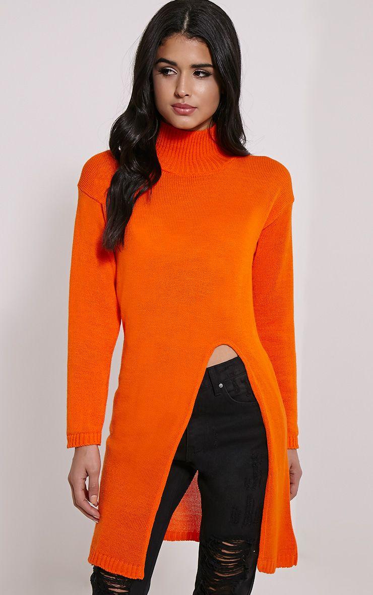 Elowen Orange Flat Knit Front Split Jumper 1