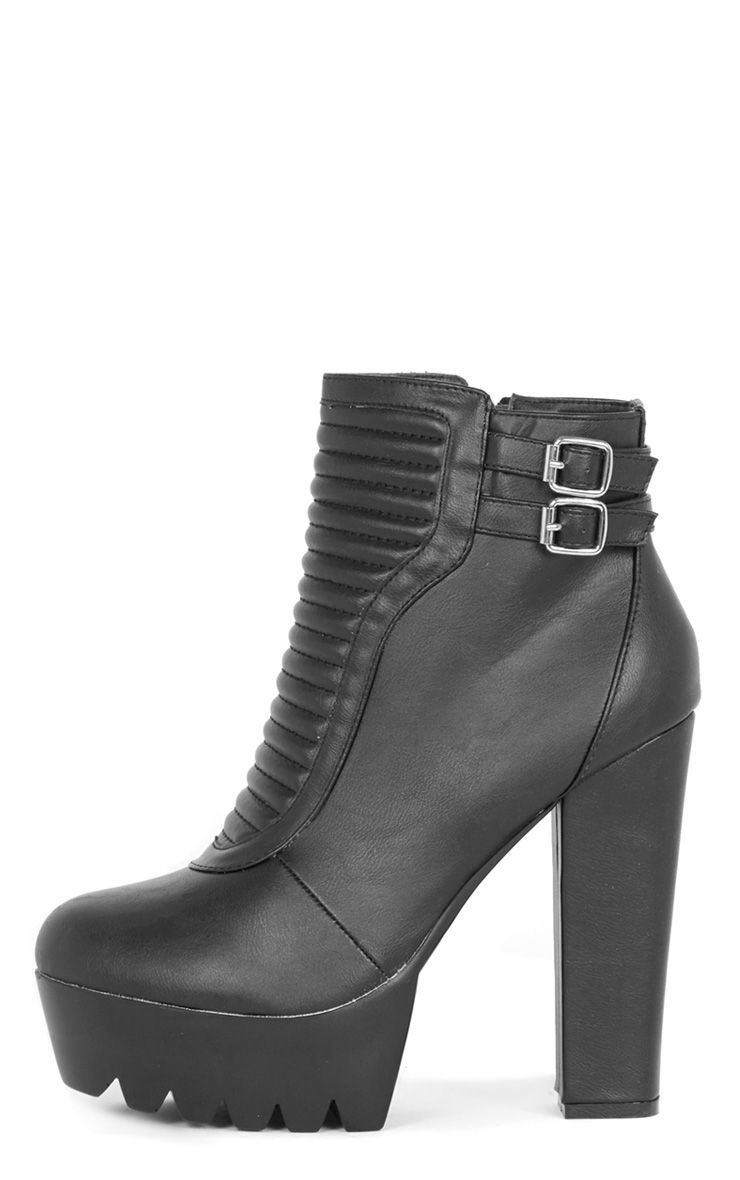 Daria Black Ribbed Biker Boot  1