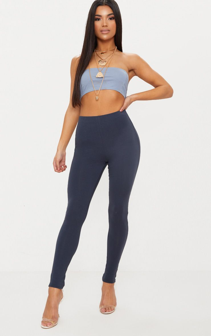 Charcoal Blue High Waisted Cotton Stretch Leggings