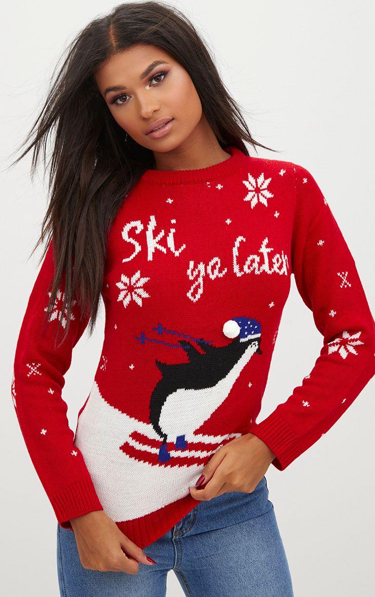 Red Penguin Pom Pom Christmas Jumper