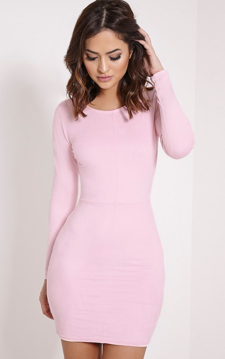 Braelynn Pink Faux Suede Long Sleeved Mini Dress 1