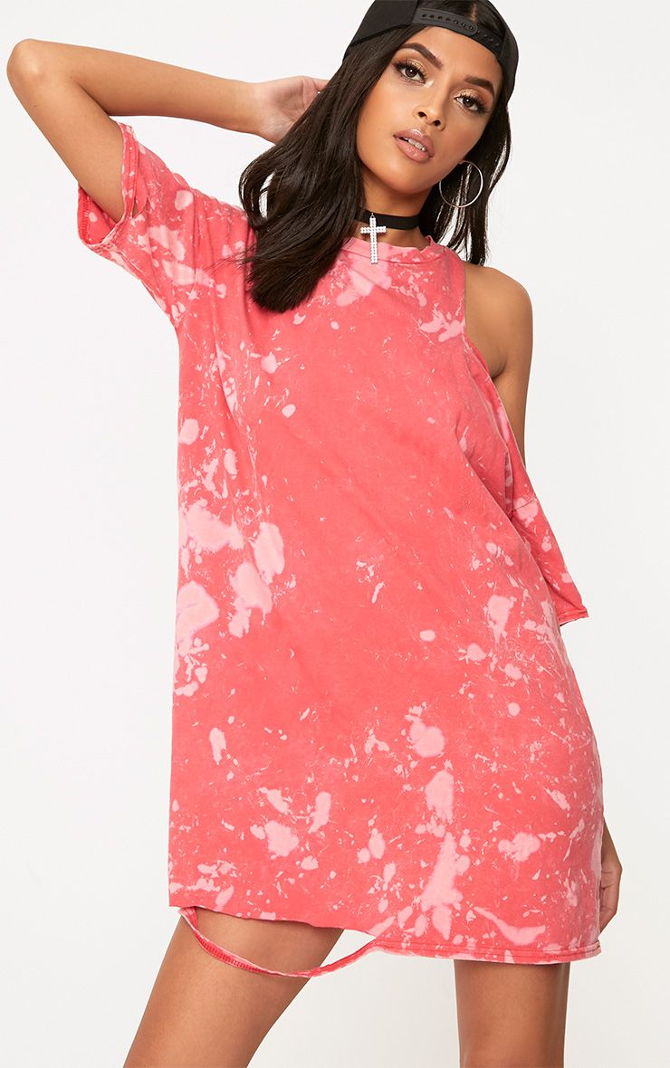 Pink Tie Dye Cut Out T Shirt Dress