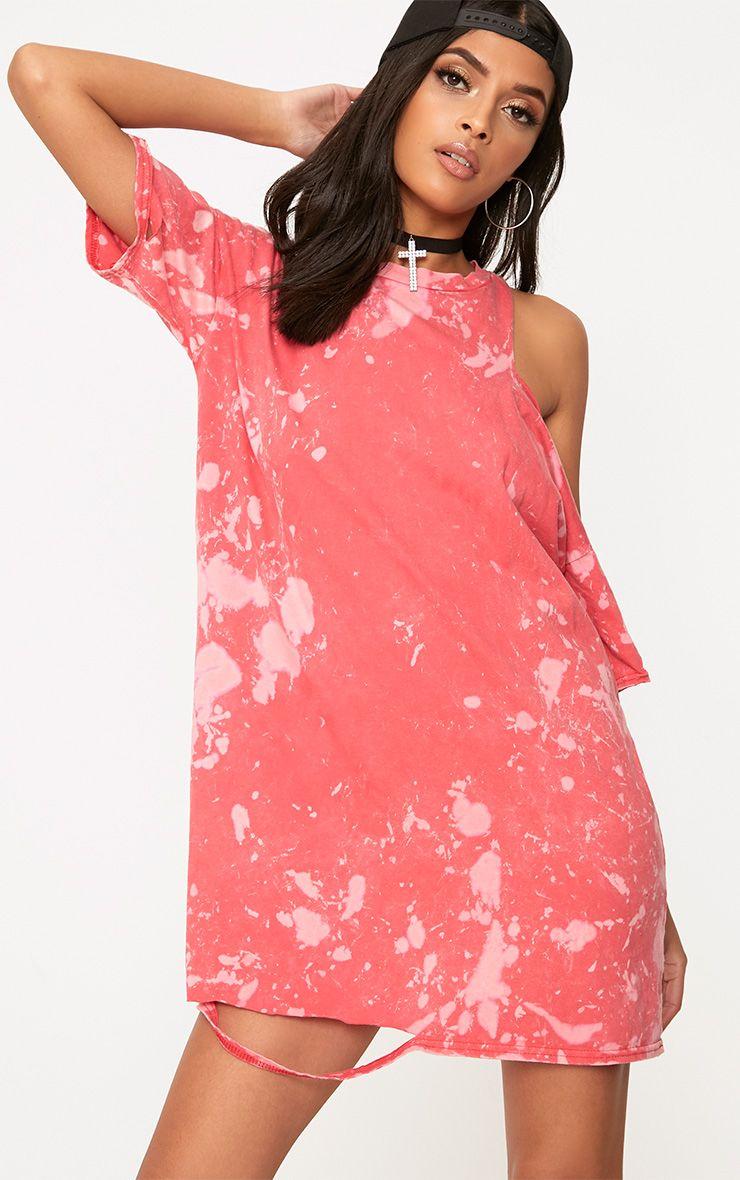 Pink Tie Dye Cut Out T Shirt Dress