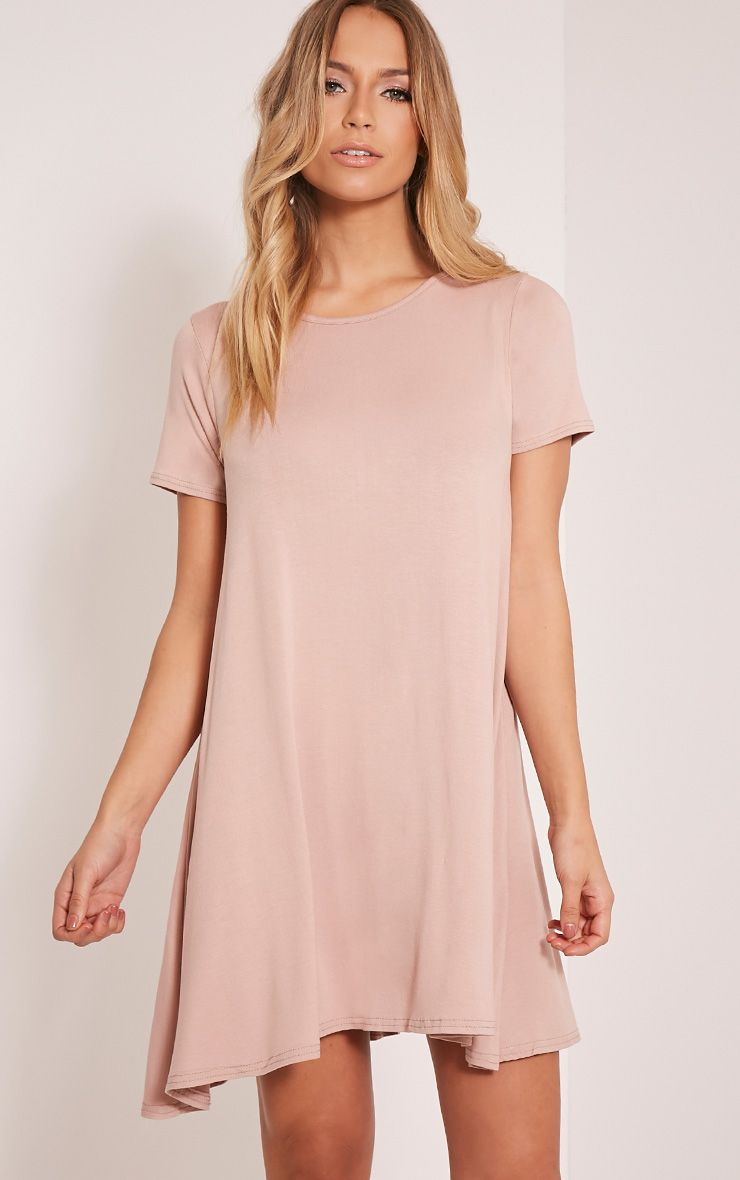 Basic Taupe Jersey Swing Dress 1
