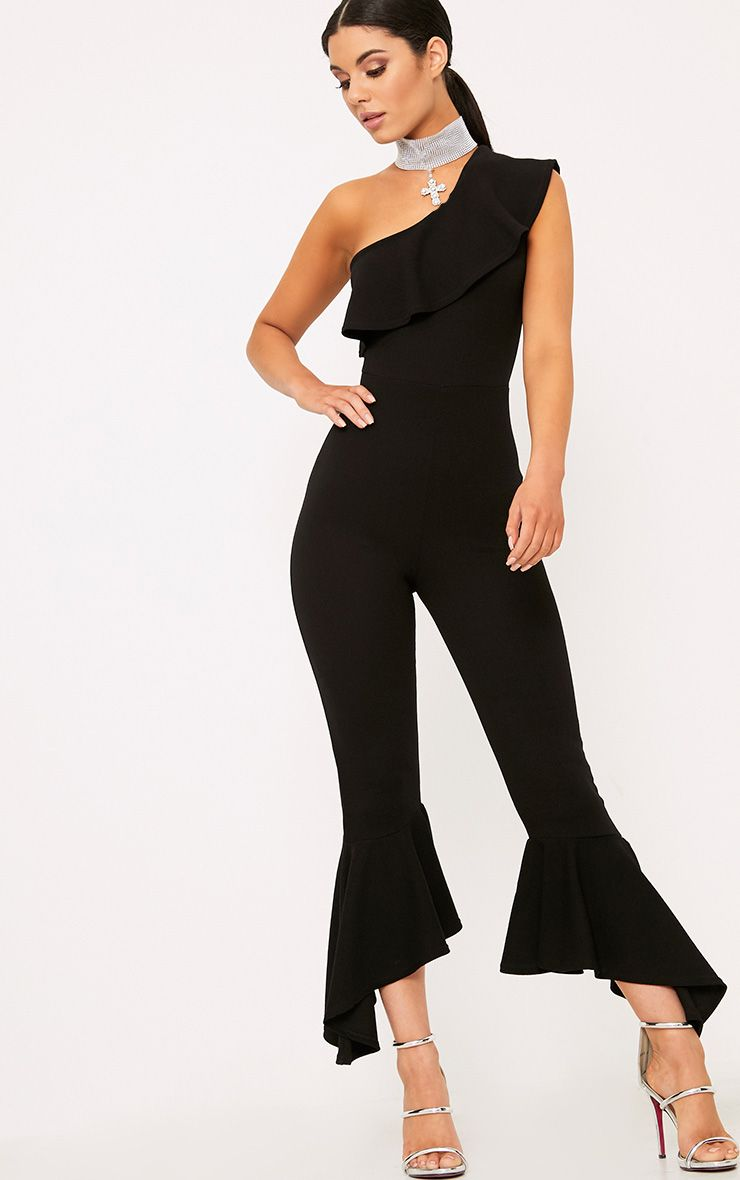 Black One Shoulder Frill Detail Flared Ankle Jumpsuit