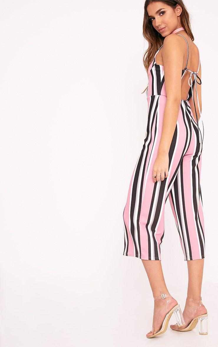 Katy Pink Stripe Culotte Jumpsuit