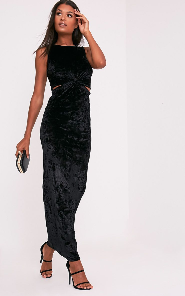 Jaydiah Black Crushed Velvet Cut Out Maxi Dress