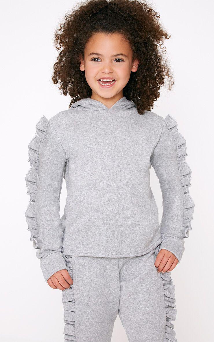 Frill Sleeve Grey Marl Hoodie 1