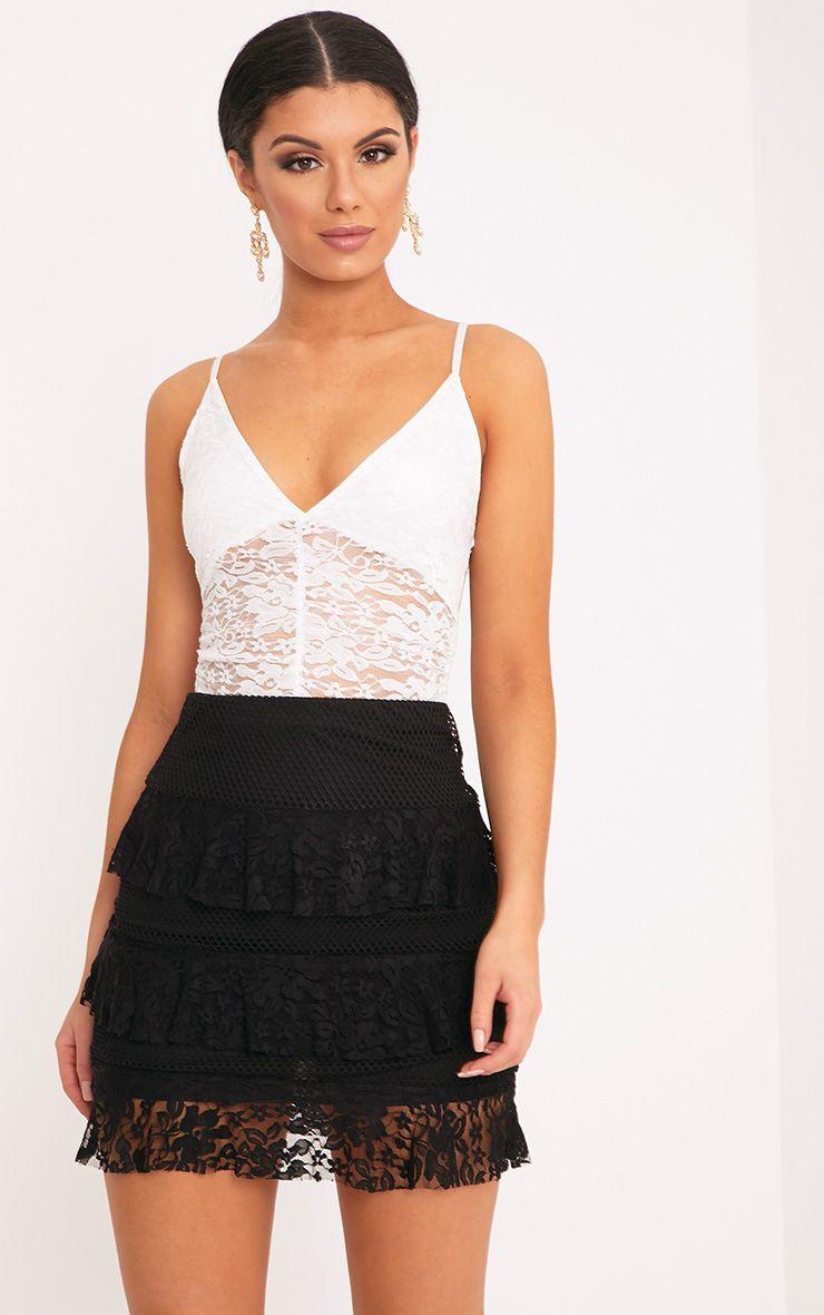 Rosanna Black Tiered Lace Mini Skirt