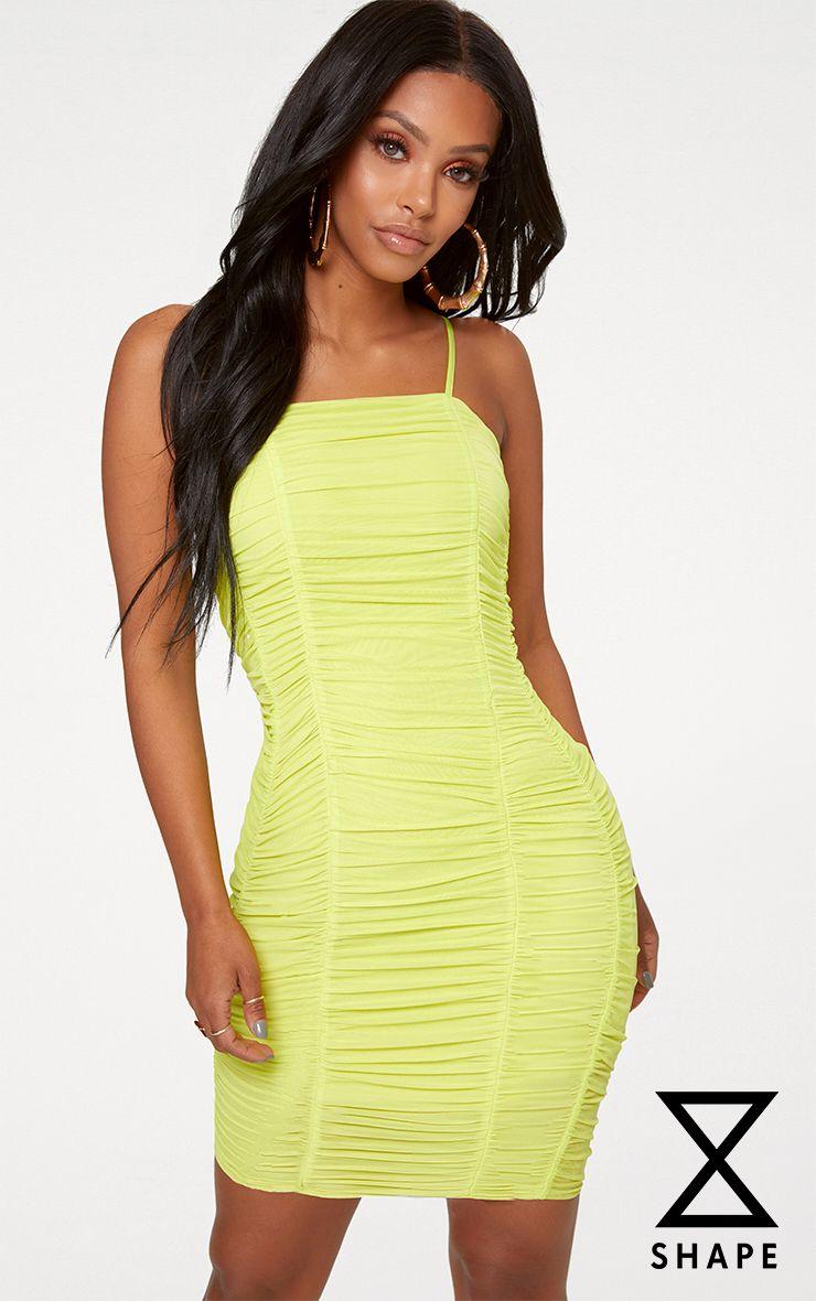 Shape Lime Ruched Mesh Bodycon Mini Dress