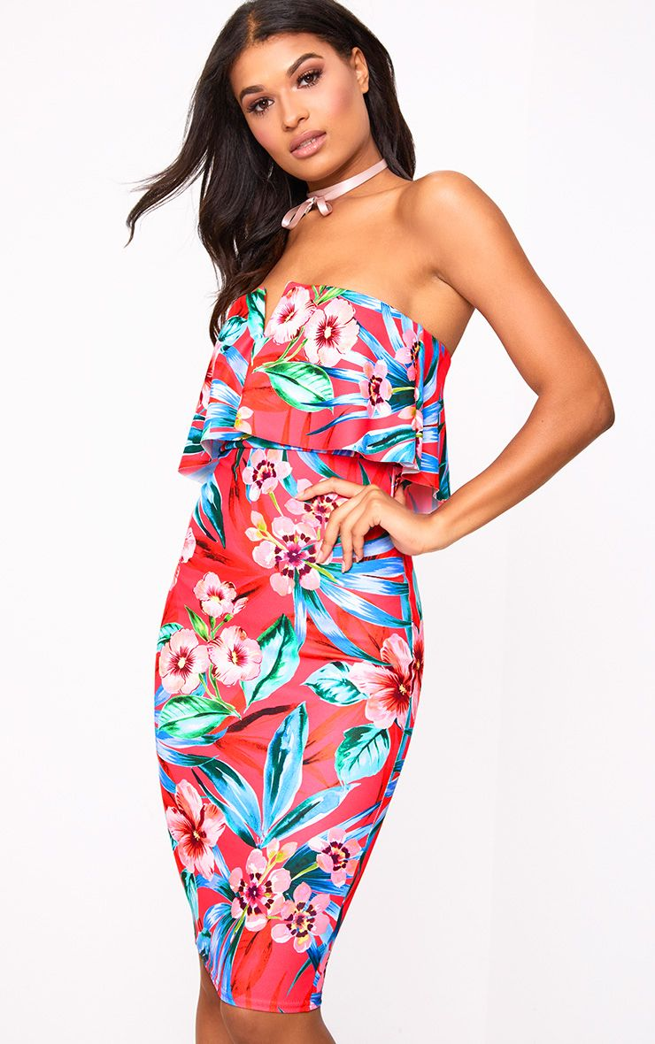 Hot Pink Floral Bandeau Midi Dress