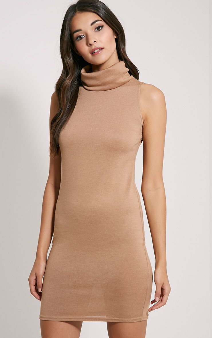 Yelena Camel Knitted Marl Roll Neck Dress 1