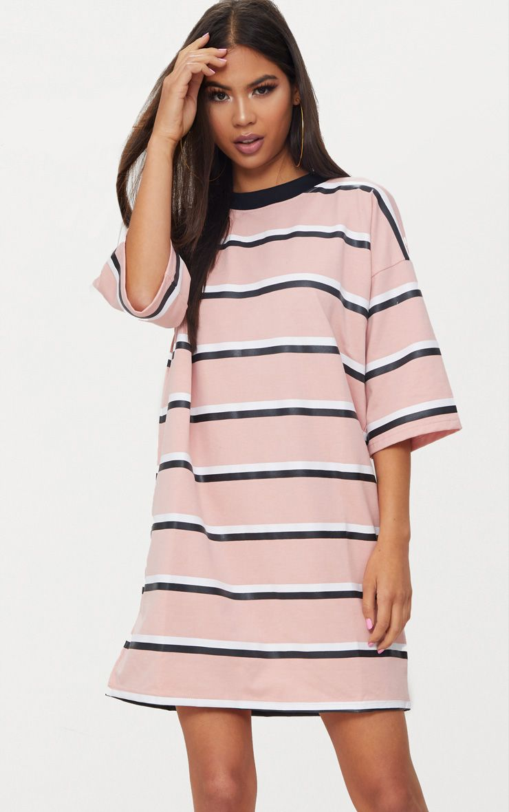 Pink Striped Oversized Boyfriend T Shirt Dress