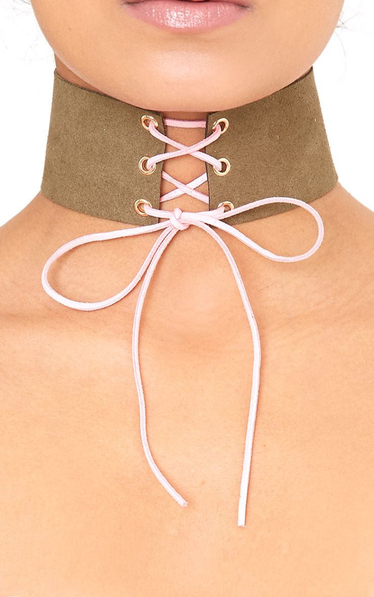 Kimmee Khaki Suedette Lace Up Choker