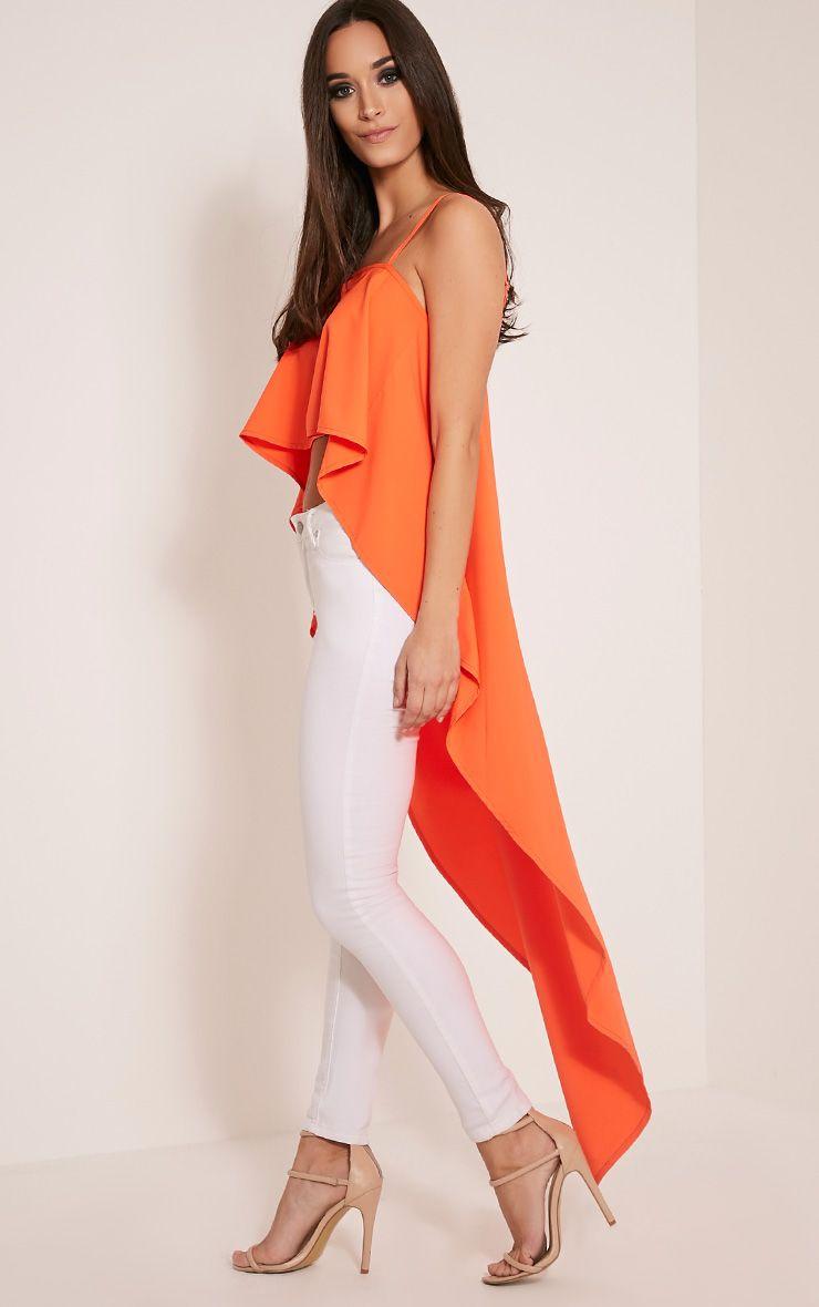 Rosabella Bright Orange Drop Hem Cami Top 1