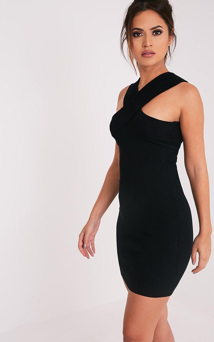 Aramiah Black Ribbed Knit Body Con Mini Dress 4
