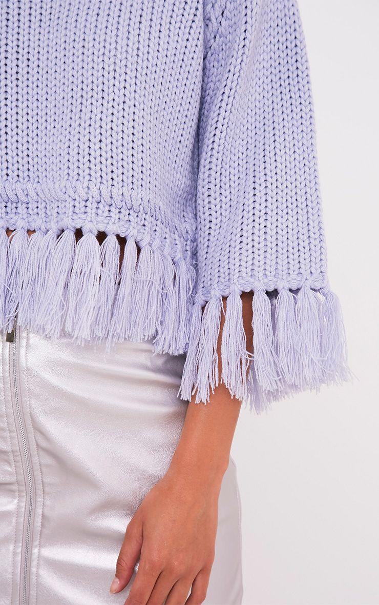 Shelia pull tricoté court à franges bleu cendré 6