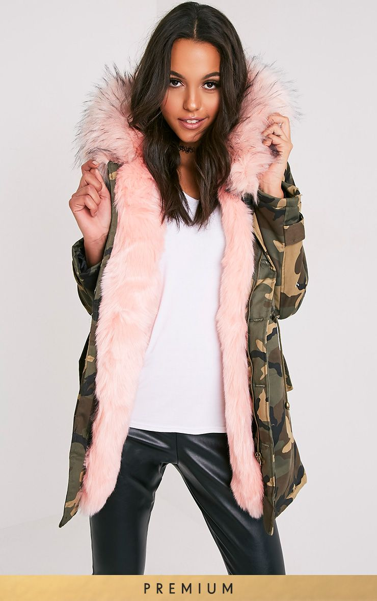 Fliss Baby Pink Camo Faux Fur Lined Parka