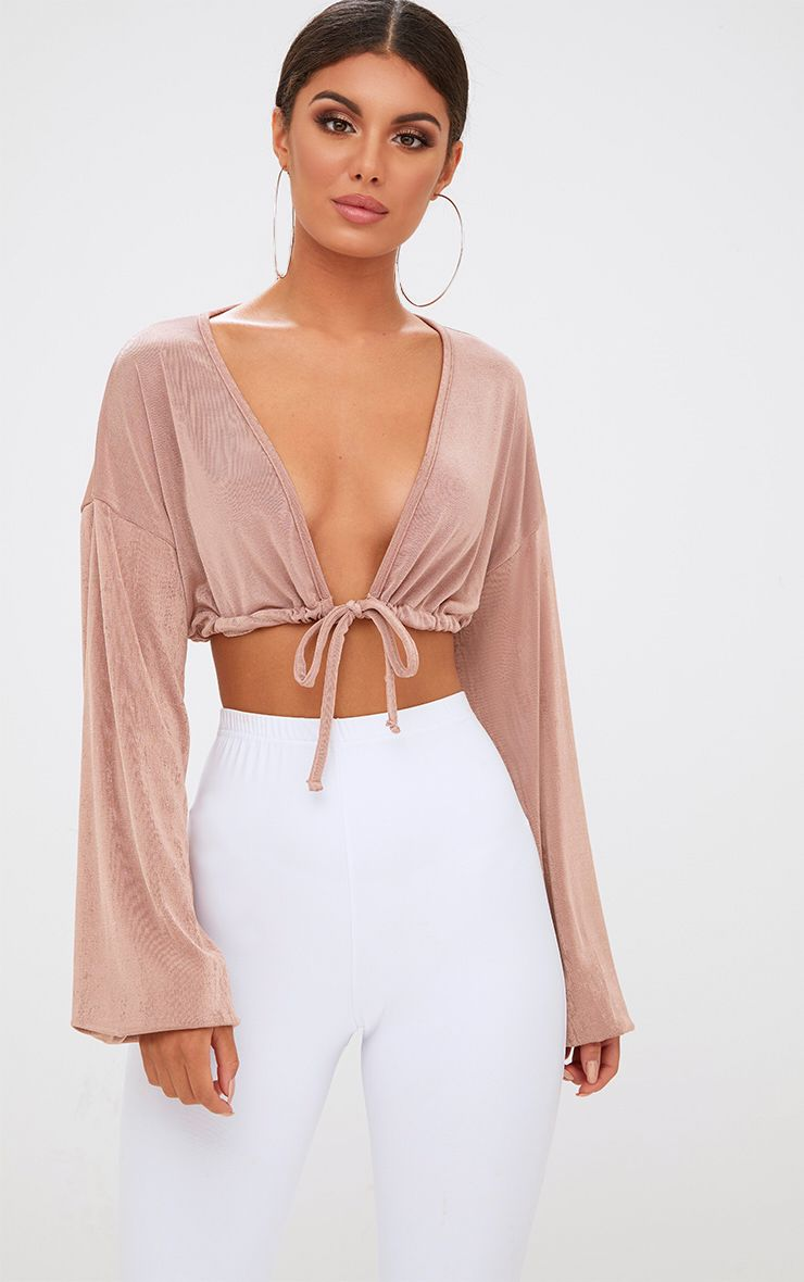 Blush Slinky Drawstring Blouson Sleeve Crop Top