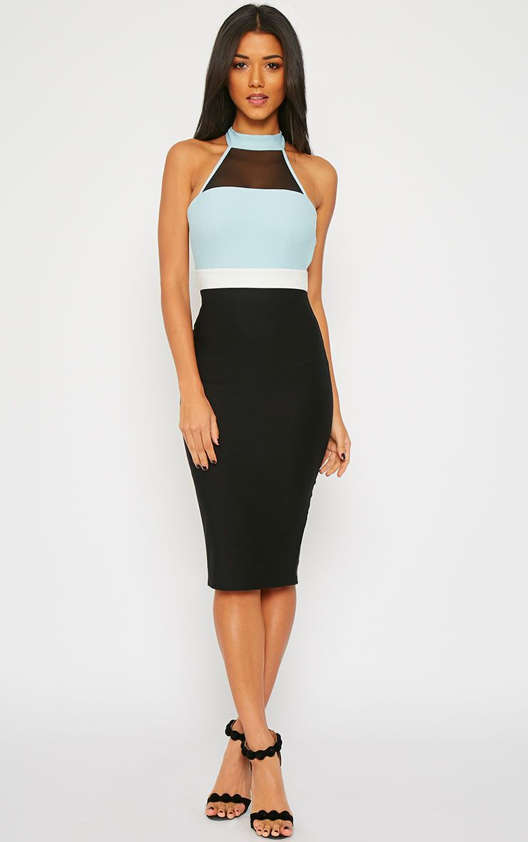 Alexandra Powder Blue Colour Block Halterneck Dress 1