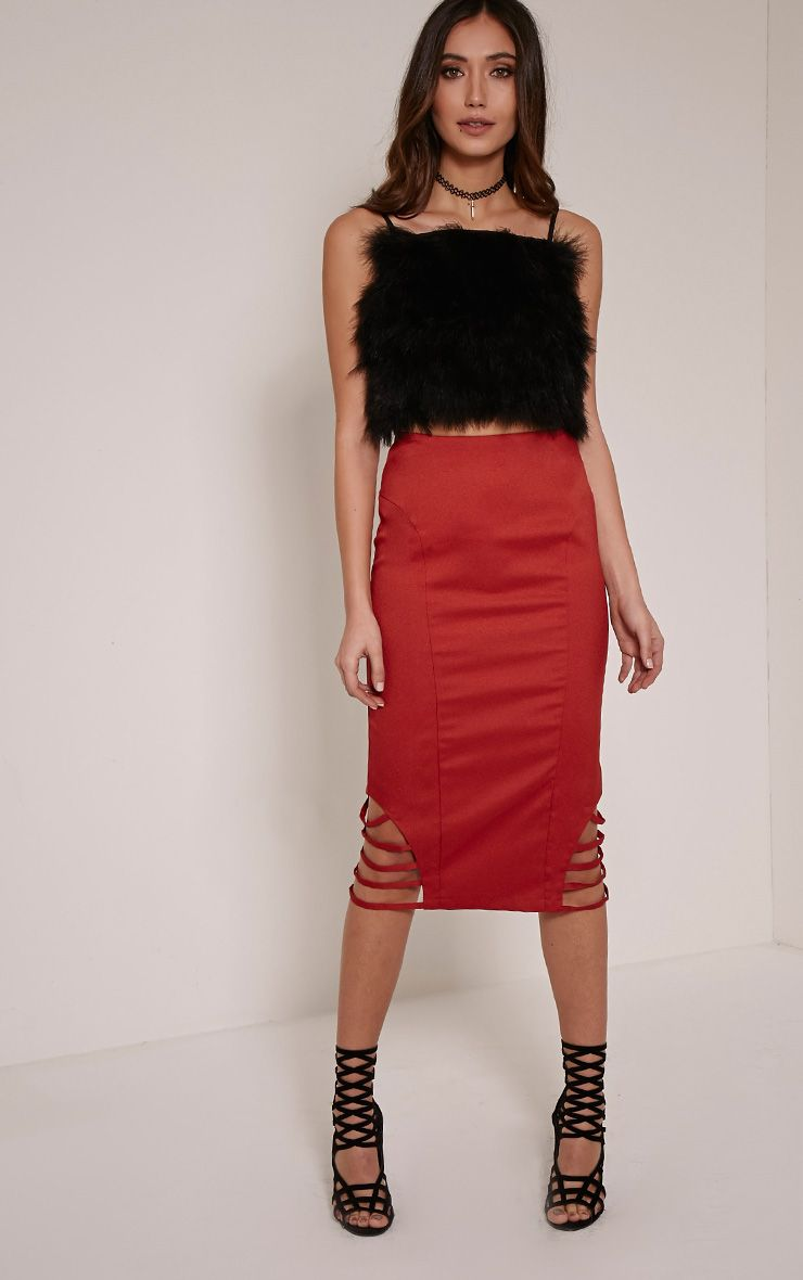 Wilow Rust Ladder Cut Out Midi Skirt 1