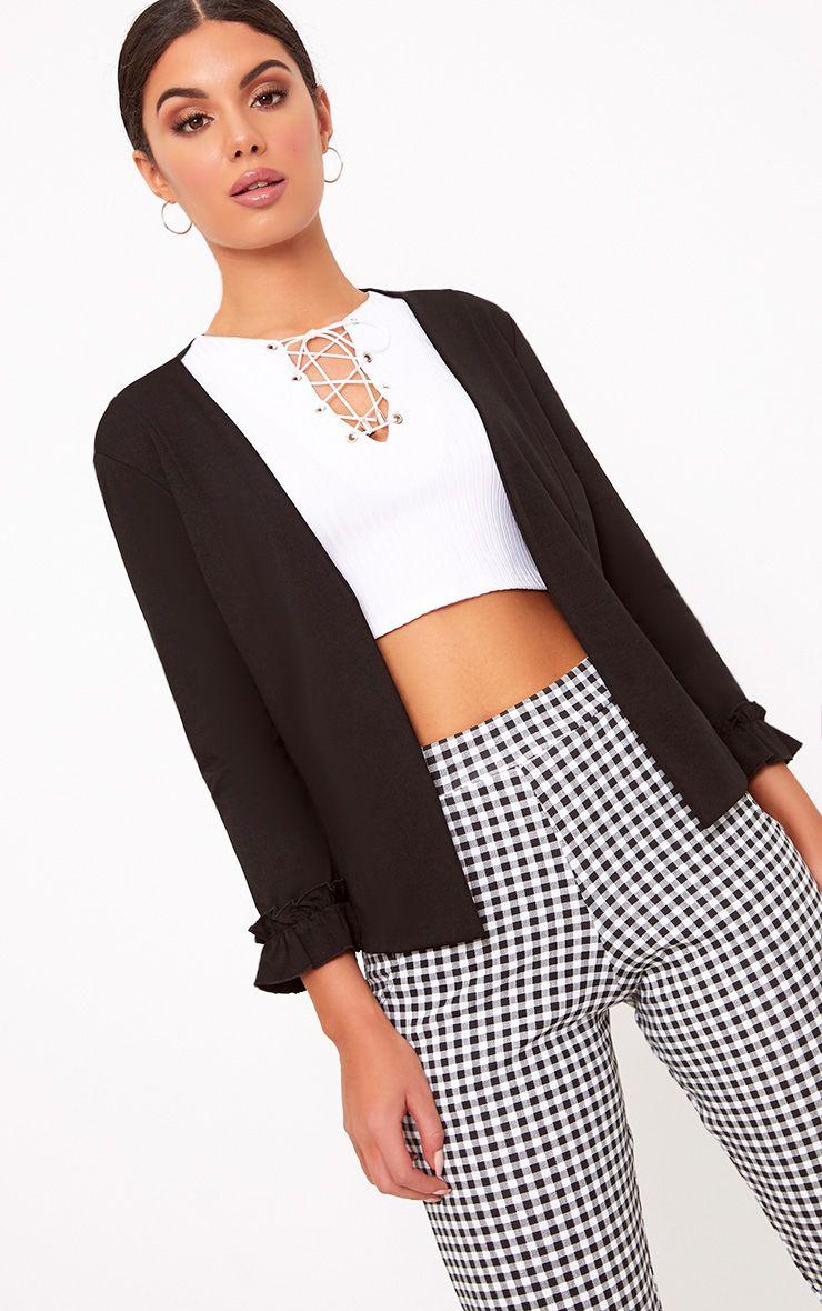Esme Black Ruffle Cuff Cropped Blazer