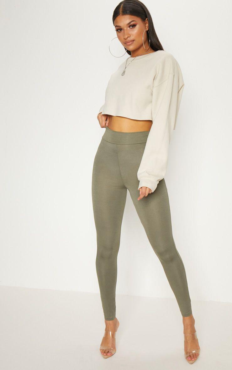 Dabria Khaki High Waisted Jersey Leggings 1