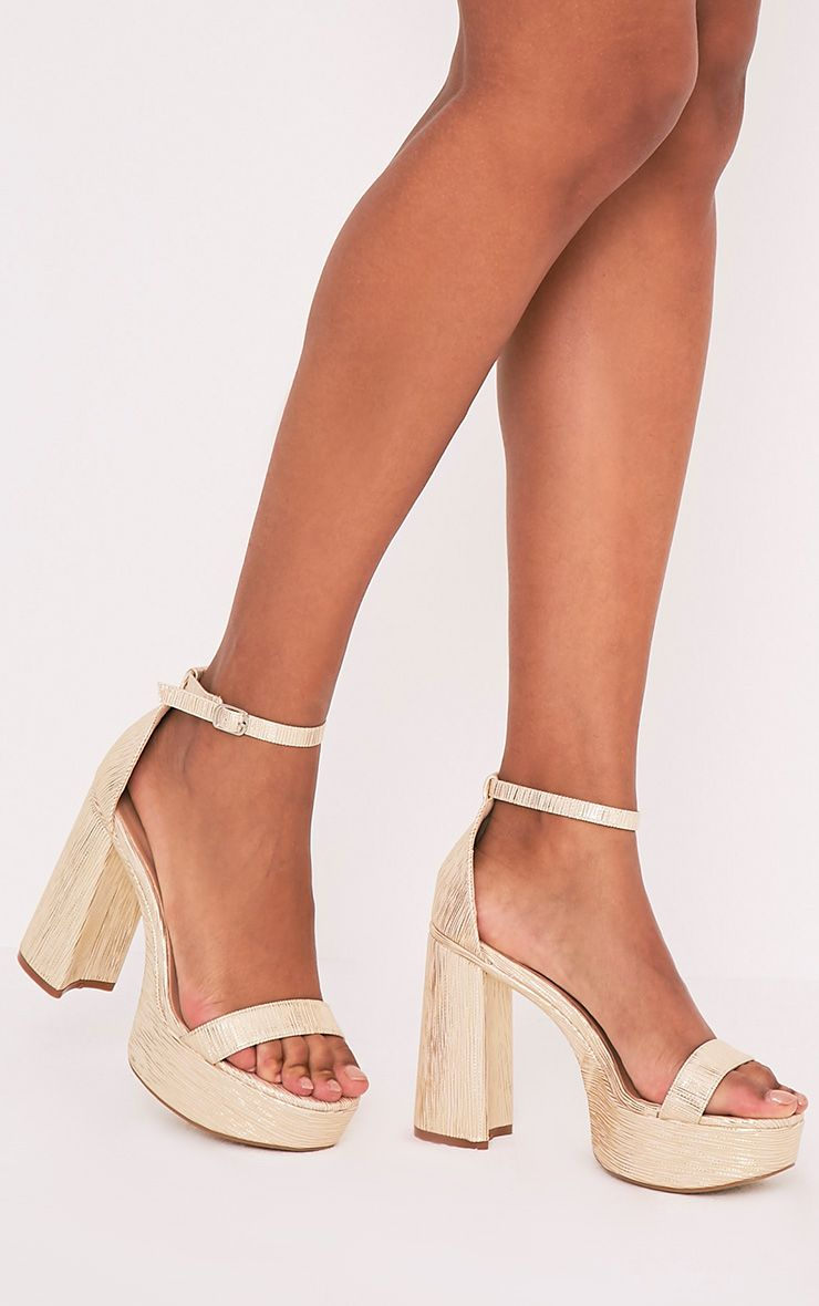 Cyra Gold Metallic Platform Strappy Heels