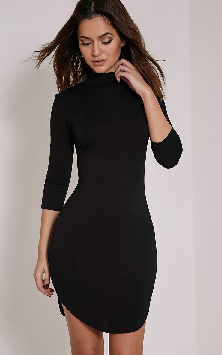 Alby Black 3/4 Sleeve Curve Hem High Neck Dress 1