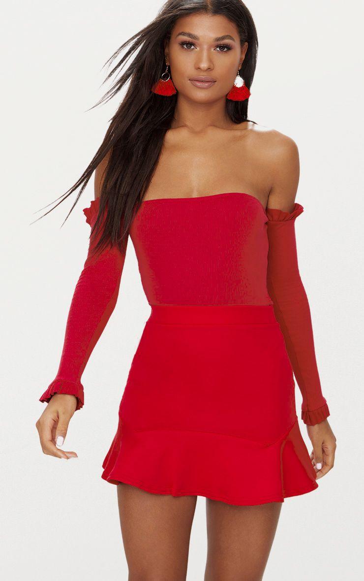 Red Bardot Jersey Rib Frill Sleeve Thong Bodysuit