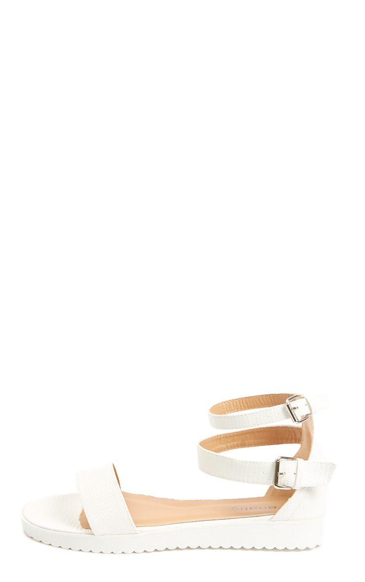Gwen Cream Leather Lizard Sandal 1