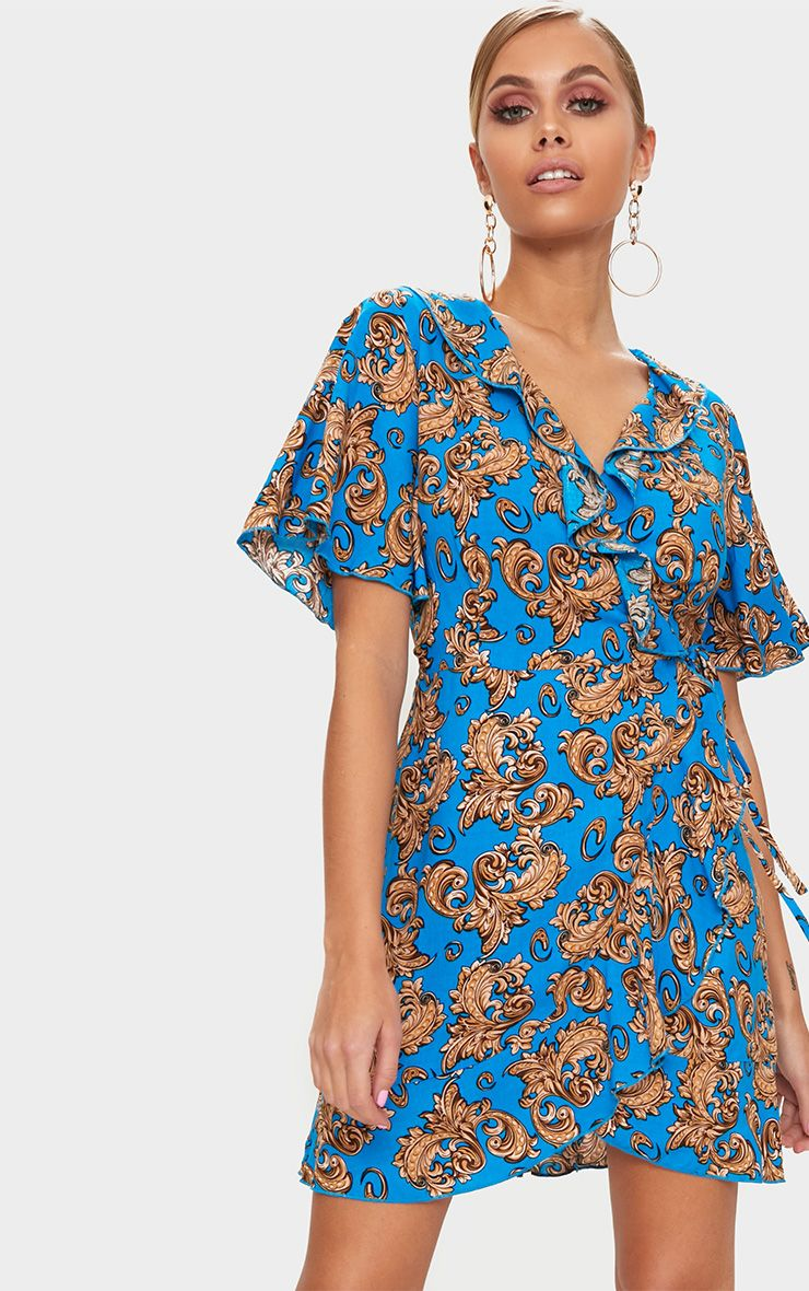 Bright Blue Chain Print Wrap Dress