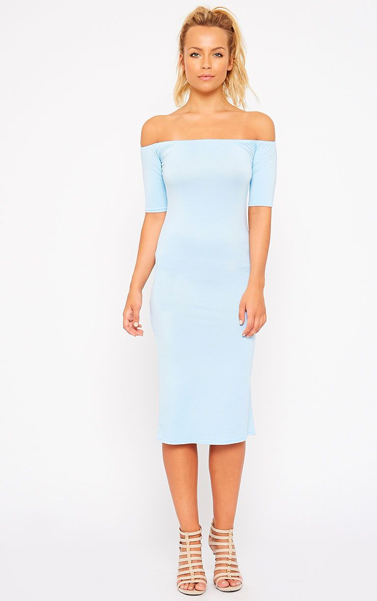 Caty Powder Blue Jersey Bardot Midi Dress 1