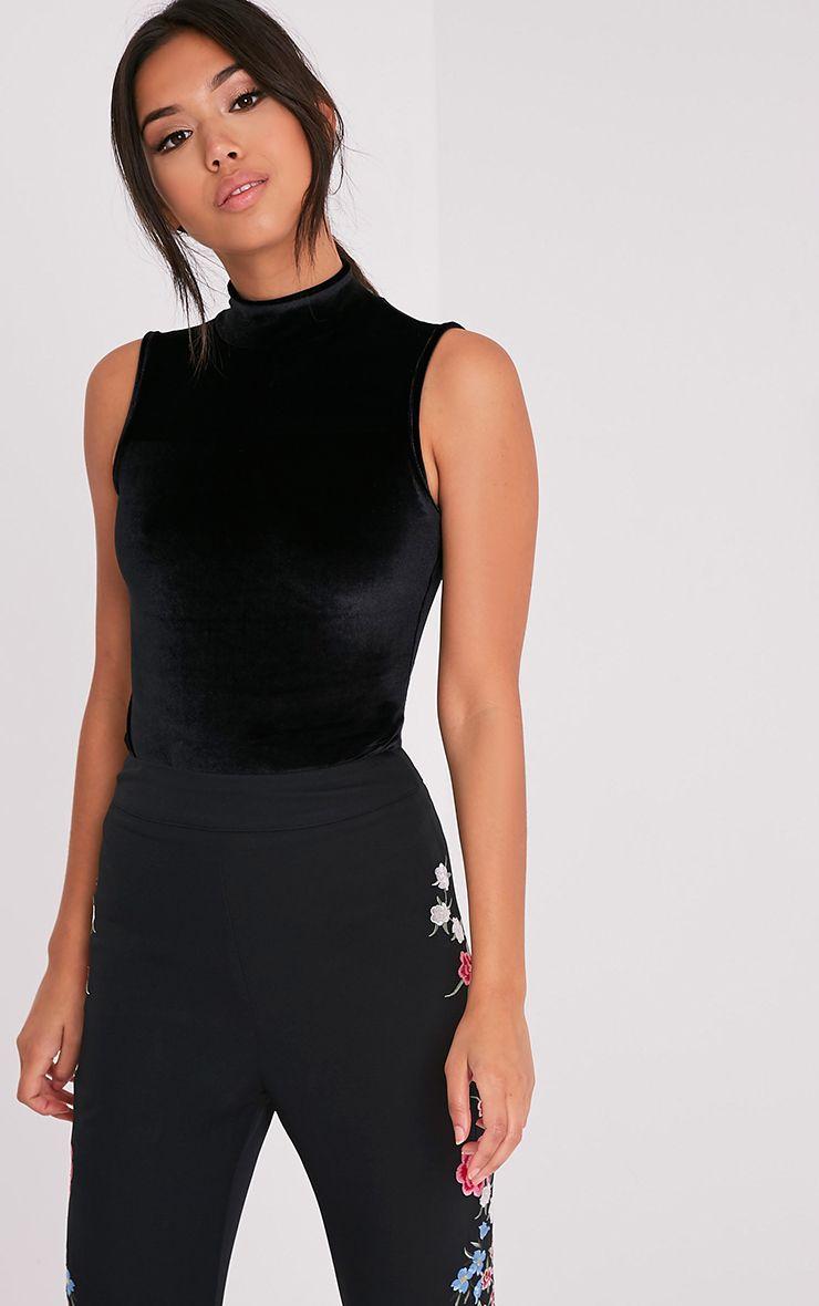 Charlyn Black Velvet Highneck Thong Bodysuit 2