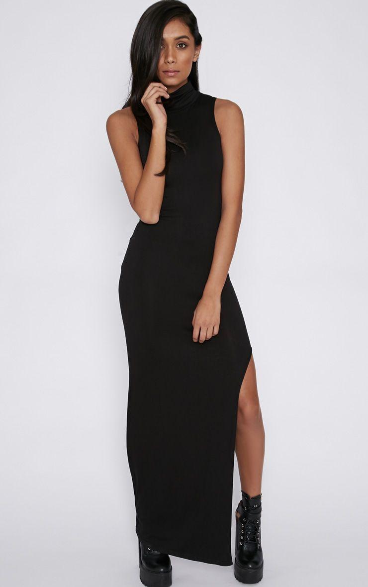Daisy Black High Neck Jersey Maxi Dress 1