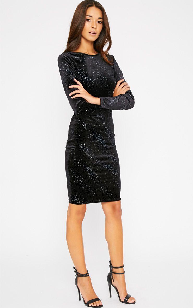 Rumer Black Velvet Blue Glitter Midi Dress 1