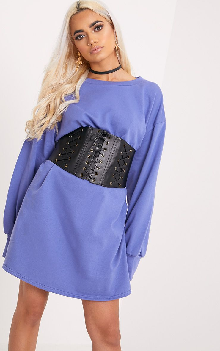 Sianna Blue Oversized Sweater Dress