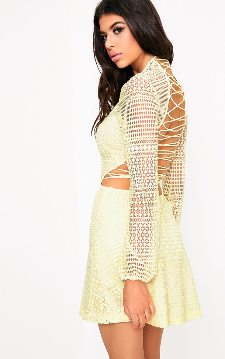 Daisie Lemon Lace Up Detail Swing Dress
